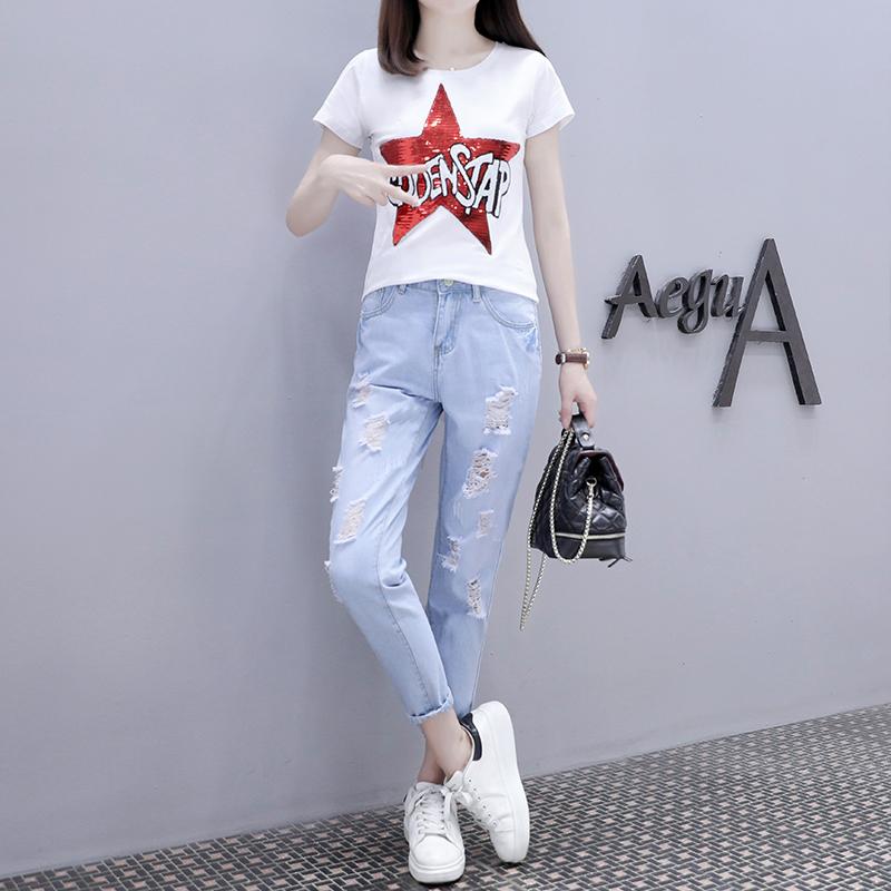 欧洲站夏装女2019新款纯棉短袖T恤+破洞牛仔裤套装时尚洋气两件套