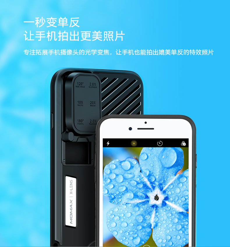 MOMAX 6-in-1 Lens Quick Switch Optical Lens Case for Apple iPhone 8 Plus/7 Plus