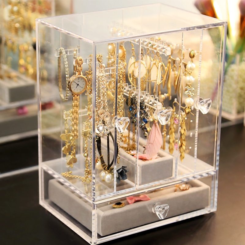 Merveilleux Muji Jewelry Storage Box Simple Transparent Acrylic Jewelry Box Pack Ear  Clip Stud Earrings Rack Finishing