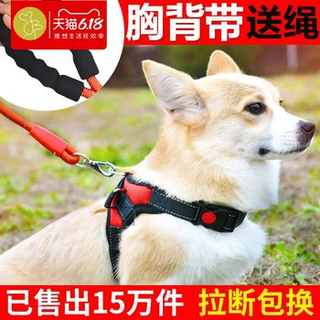 Teddy Corgi pet supplies small and medium-sized dog vest walk dog traction rope puppies chest strap dog chain