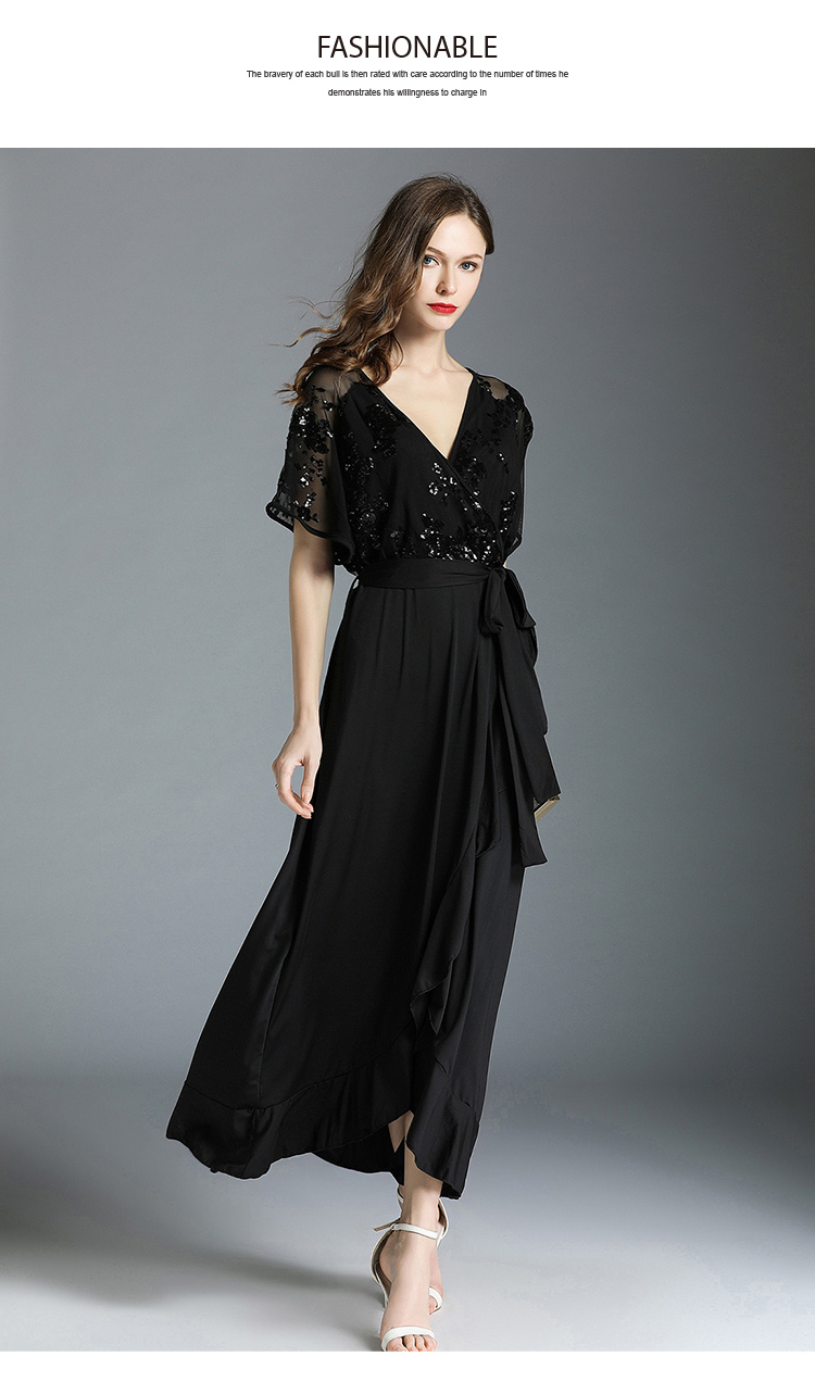 Black V-neck Butterfly Sleeve Ankle-length Dress