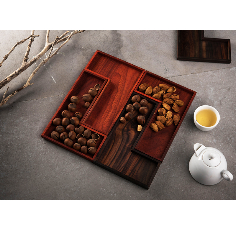 创意木质零食盘干果盘 中式果盘复古实木分格日茶点盘中国风家用
