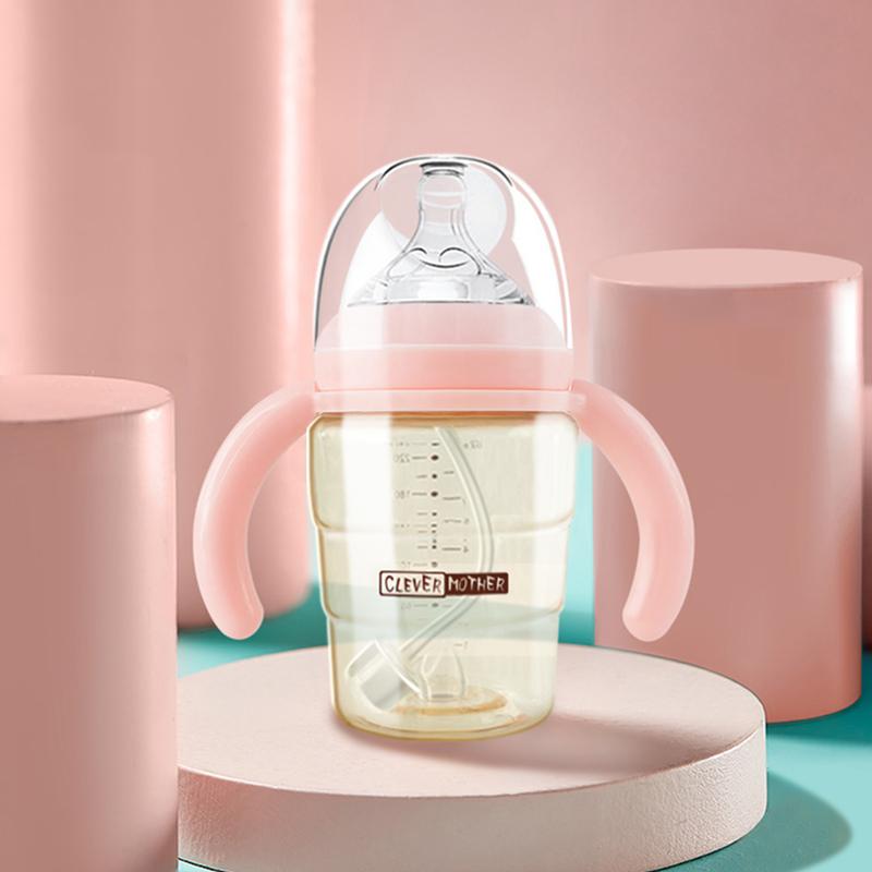 聪明妈咪婴儿奶瓶PPSU宽口径新生儿奶瓶宝宝防胀气耐摔吸管杯奶瓶