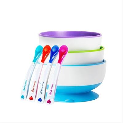 麦肯齐munchkin满趣健儿童餐具婴儿宝宝辅食碗勺吸盘碗感温勺套装