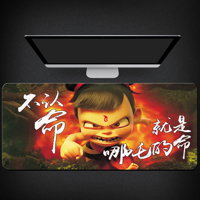 Nezha's Devil Comes Anime Oversized Gaming Mouse Pad Computer Peripheral Keyboard Non-slip Desk Pad Lock Edge