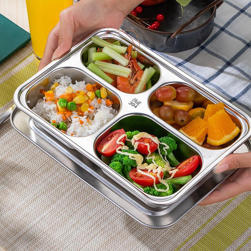 Thực phẩm kháng khuẩn và nấm mốc lớp 304 thép không gỉ tấm ăn tối phân chia căng tin học sinh bộ đồ ăn phụ nữ kiểm soát chế độ ăn uống tách - Đồ ăn tối