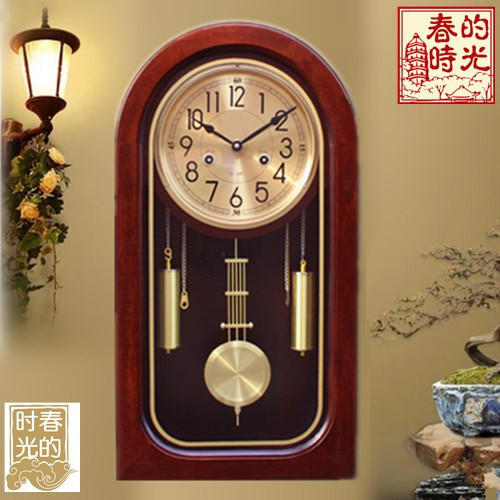 Mechanical Wall Clock Table Vintage Polaris Machine Core Feng Shui Town House Chiming Chinese European Style Living Room Rocking Solid Wood