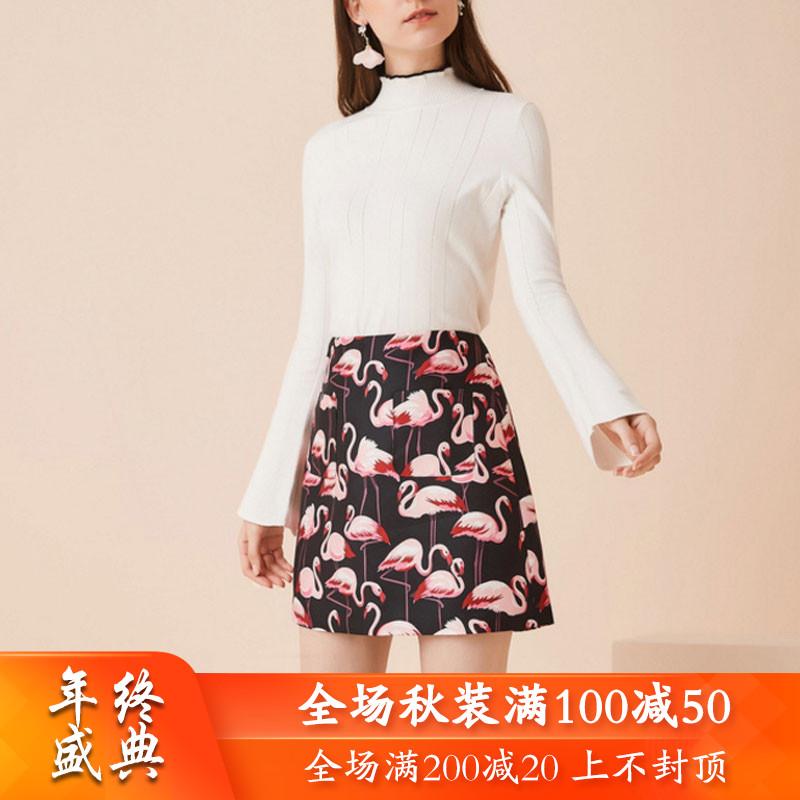 秋二波短裙女装品牌2019新款秋9F3149俏皮减龄天鹅印花高腰折扣