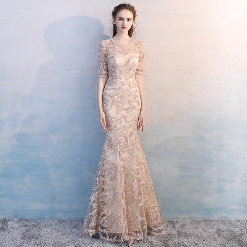 宴会晚礼服2021新款平时可穿伴娘服鱼尾气质主持人生日小礼服裙女