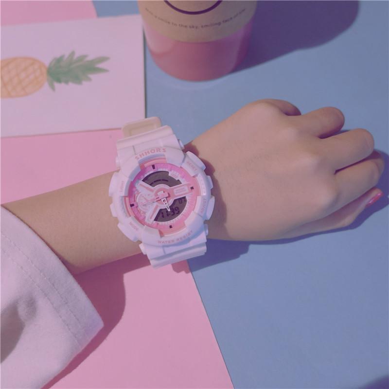 手表女学生韩版简约潮流ulzzang数字式夜光防水学院风考试电子表