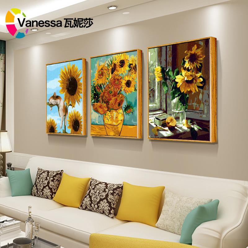 瓦妮莎diy数字油画手工填色解压风景梵高向日葵玄关挂客厅装饰画
