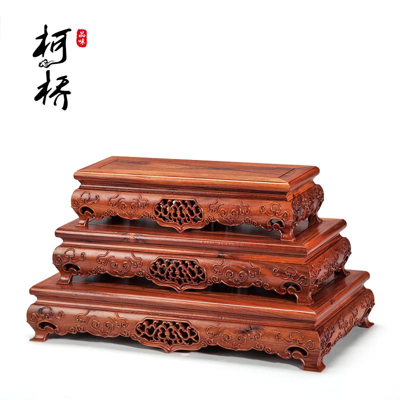 红木质长方形工艺品摆件实木花盆花梨木紫砂壶托架玉石栽花瓶底座