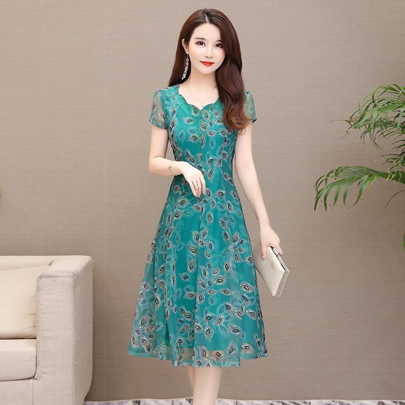 名兰夏装2019品牌新款傲丝度蕾丝古贝莎台湾正世家高档女装连衣裙
