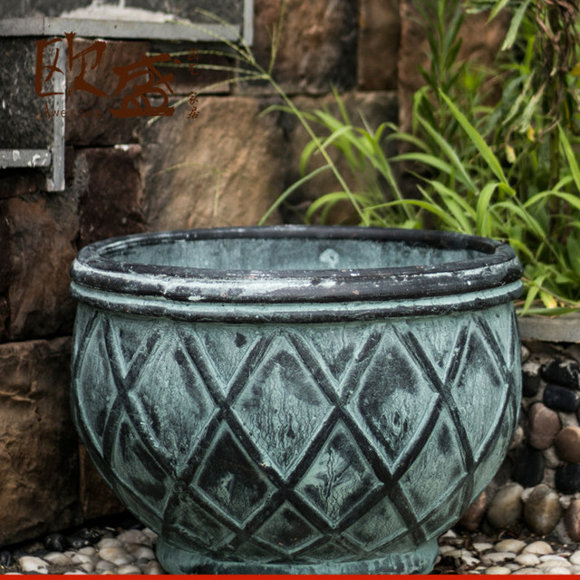 Ou Sheng Retro Old Large Potted Flower Pottery Earthenware Pots Home Gardening Outdoor Garden Floor Pots