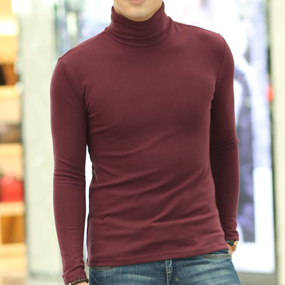Winter high collar long-sleeved T-shirt solid color bottoming shirt men's thickening large size compassionate tight-fitting men's Slim autumn clothes