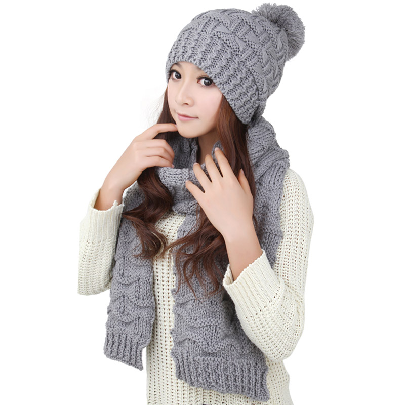 ccaeee3861c Korean version of the female winter hat scarf two-piece one warm coffee set  kit two sets 0128