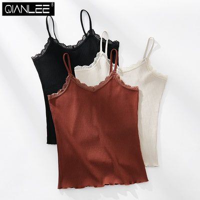 2 pieces of hanging vest female cotton cotton in the bottom of the underwear home summer women's solid color outer wear thin thin