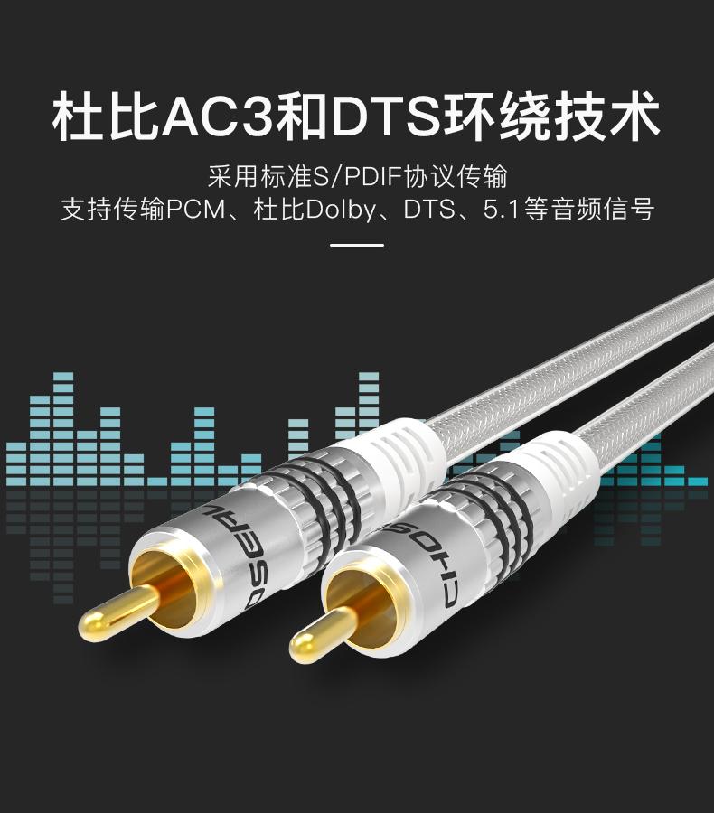 秋叶原 同轴音频线低音炮线SPDIF纯铜75欧5.1数字音箱功放连接线商品详情图
