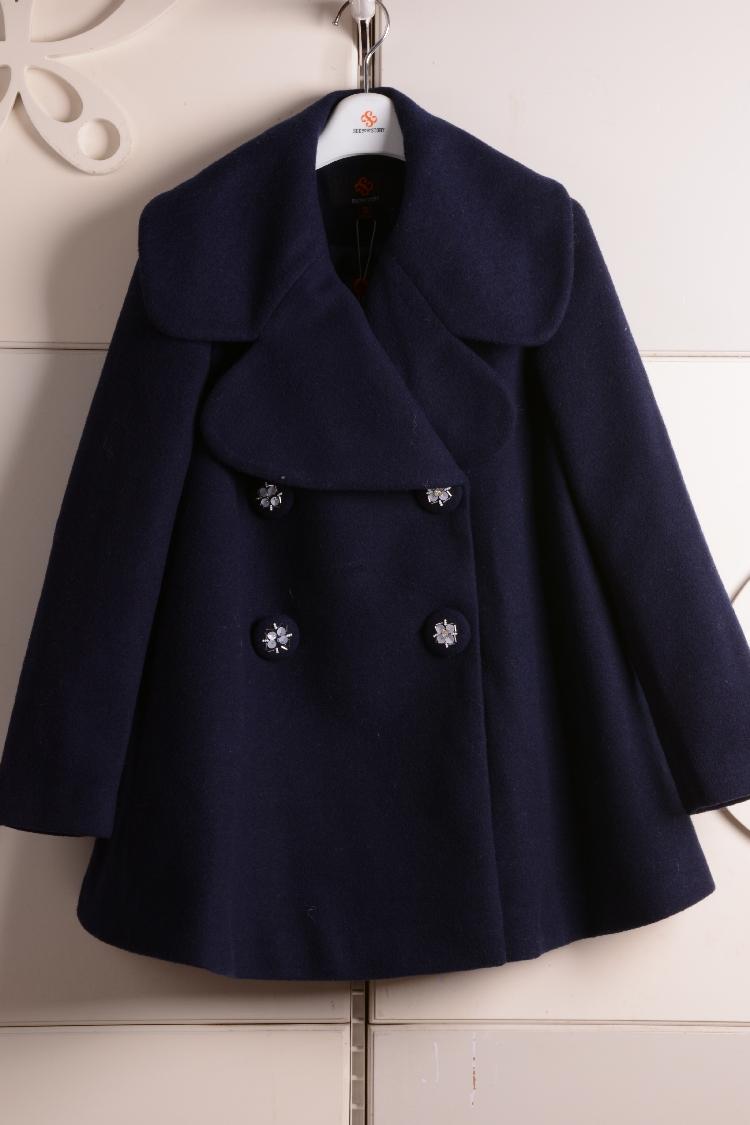 2015冬季新款茜雅朵朵正品毛呢外套子女装大衣专柜1154DD114原799