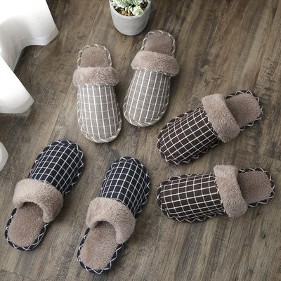 Cotton slippers female autumn and winter couples home household warmth thick-soled non-slip indoor furry confinement shoes winter men