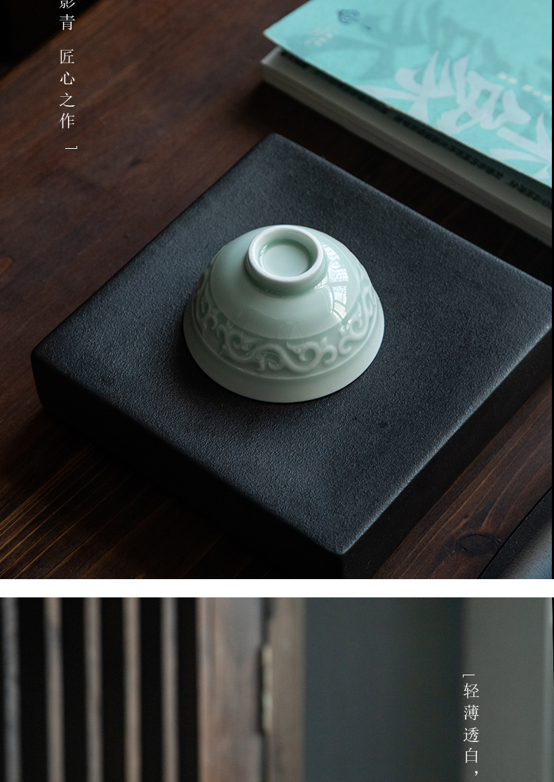 Jingdezhen ceramic film green individual cup of kung fu tea master cup sample tea cup single cup small bowl with a single CPU
