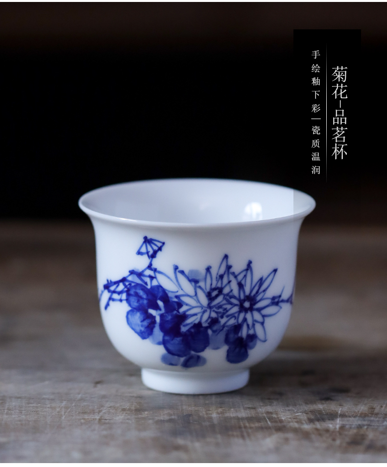 Jingdezhen blue and white by patterns of hand - made ceramic sample tea cup small kung fu tea cups individual cup single CPU