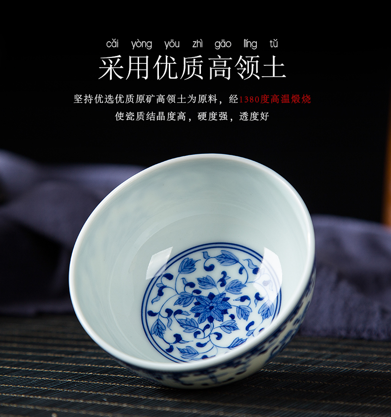 Ocean 's folk artists hand - made sees blue and white porcelain of jingdezhen ceramic kung fu tea cups large master cup single CPU