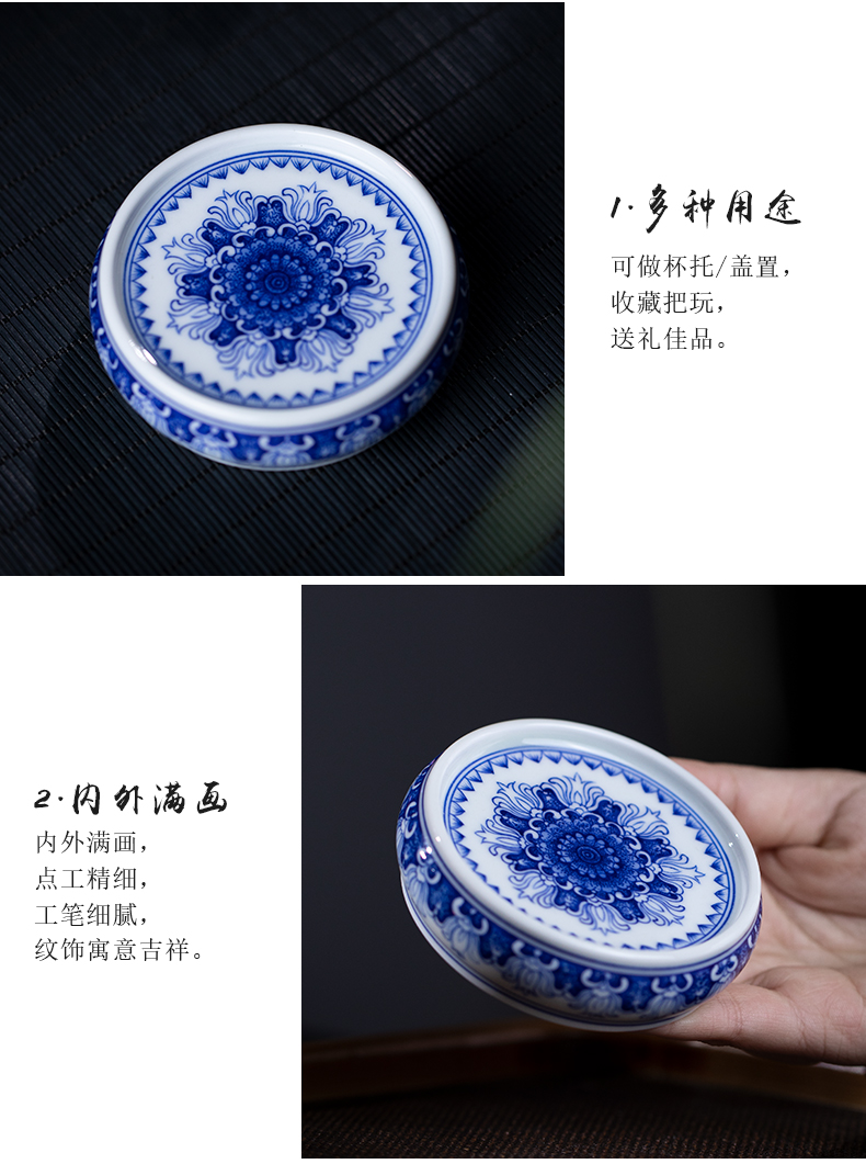 Pure manual hand - made landscape tea cover rear cover cover to mackerel Joe blue - and - white CiHu bearing ceramic lid of the socket