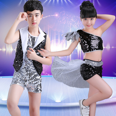 Children's jazz dance, sequins, boys and girls, stage modern dance, cool street dance costume.