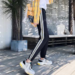 超火的裤子hiphop运动裤学生原宿bf风潮校服束脚裤