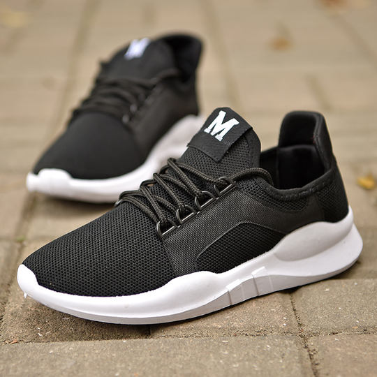 Fashion plus velvet new breathable running shoes men's casual shoes Korean version of the tide spring and autumn men's shoes shoes wild
