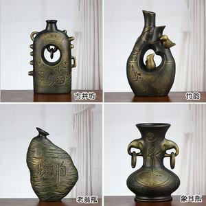 仿青铜陶瓷摆件创意中式家居装饰品工艺品客厅电视古董架书房摆设