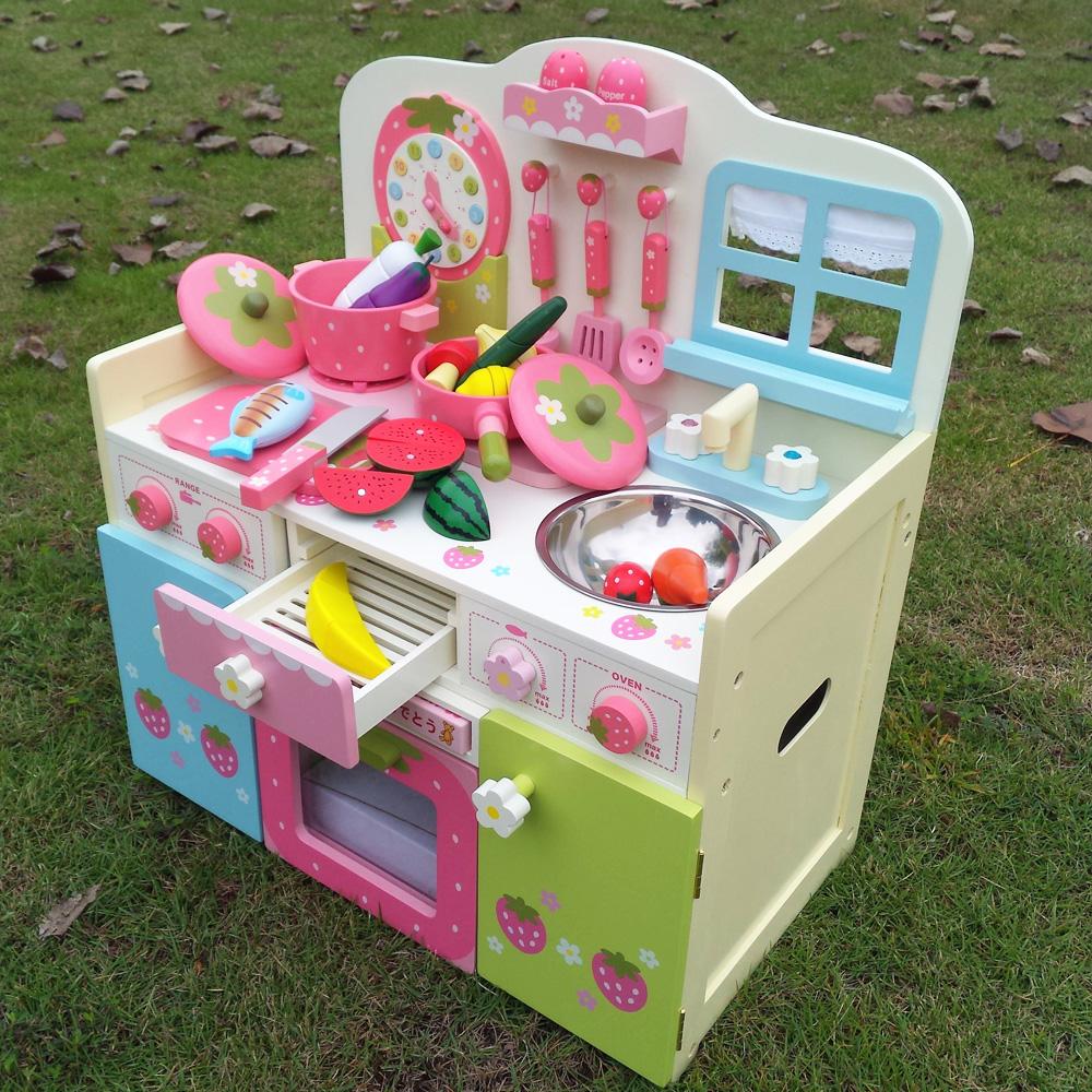 日本草莓过家家仿真厨房玩具套装女生孩做饭煮饭大型豪华灶台木质
