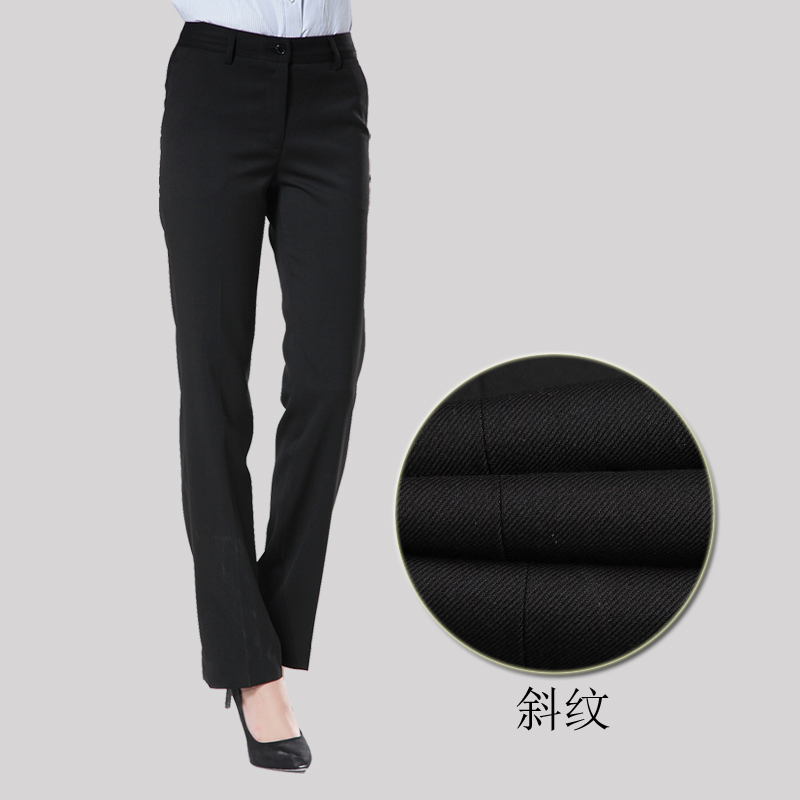 Women's spring and summer thin pure black trousers repair business formal trousers without ironing professional pants