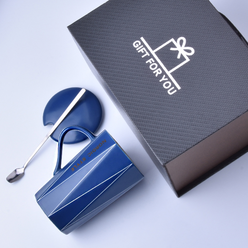 (gift box) line cup - blue