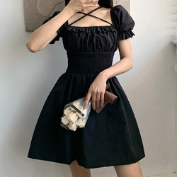 Amyway French square neck cross tie pleated puff sleeve dress high waist slim short A-line little black dress