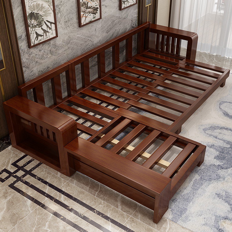 Solid Wood Sofa Combination New Chinese Furniture Chinese Sofa Bed