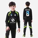 Children's football uniforms boys and girls autumn and winter long-sleeved suits sports training suits plus velvet primary school fitness clothes custom