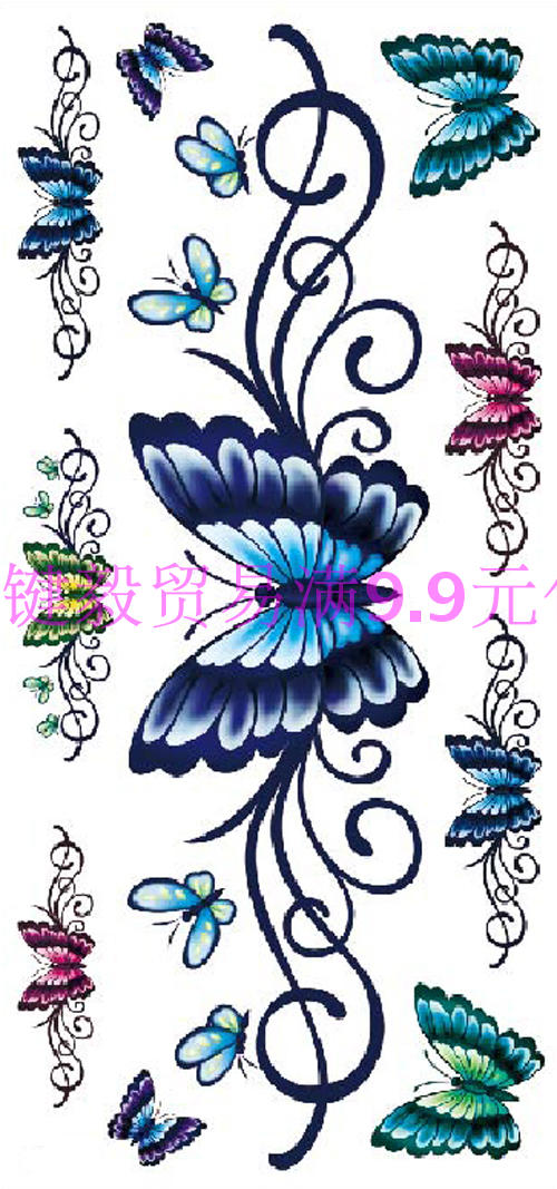 f9882296e ... lightbox moreview. PrevNext. Waterproof tattoo stickers female cesarean  cover scar color long butterfly sexy belly back leg arm temptation lasting