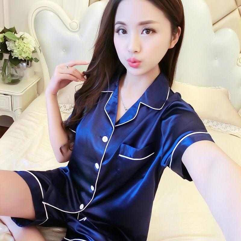 2020夏季短袖睡衣女冰丝性感女士薄款大码韩版家居服仿真丝套装