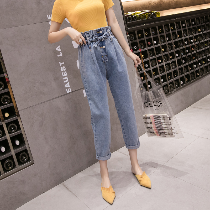 Bud Jeans Female 2019 New Style High Waist Korean Version of the Loose Was Thin Straight Leg Dad luo bu ku