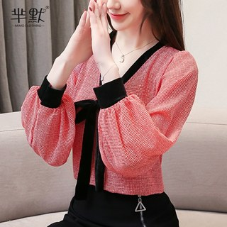 Autumn 2020 new spring and autumn women's clothing is very fairy blouse chiffon shirt foreign style lace base temperament fashion trend