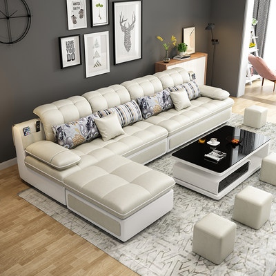 Fabric sofa small apartment three-person living room Nordic network Hong models modern minimalist technology cloth sofa combination suit