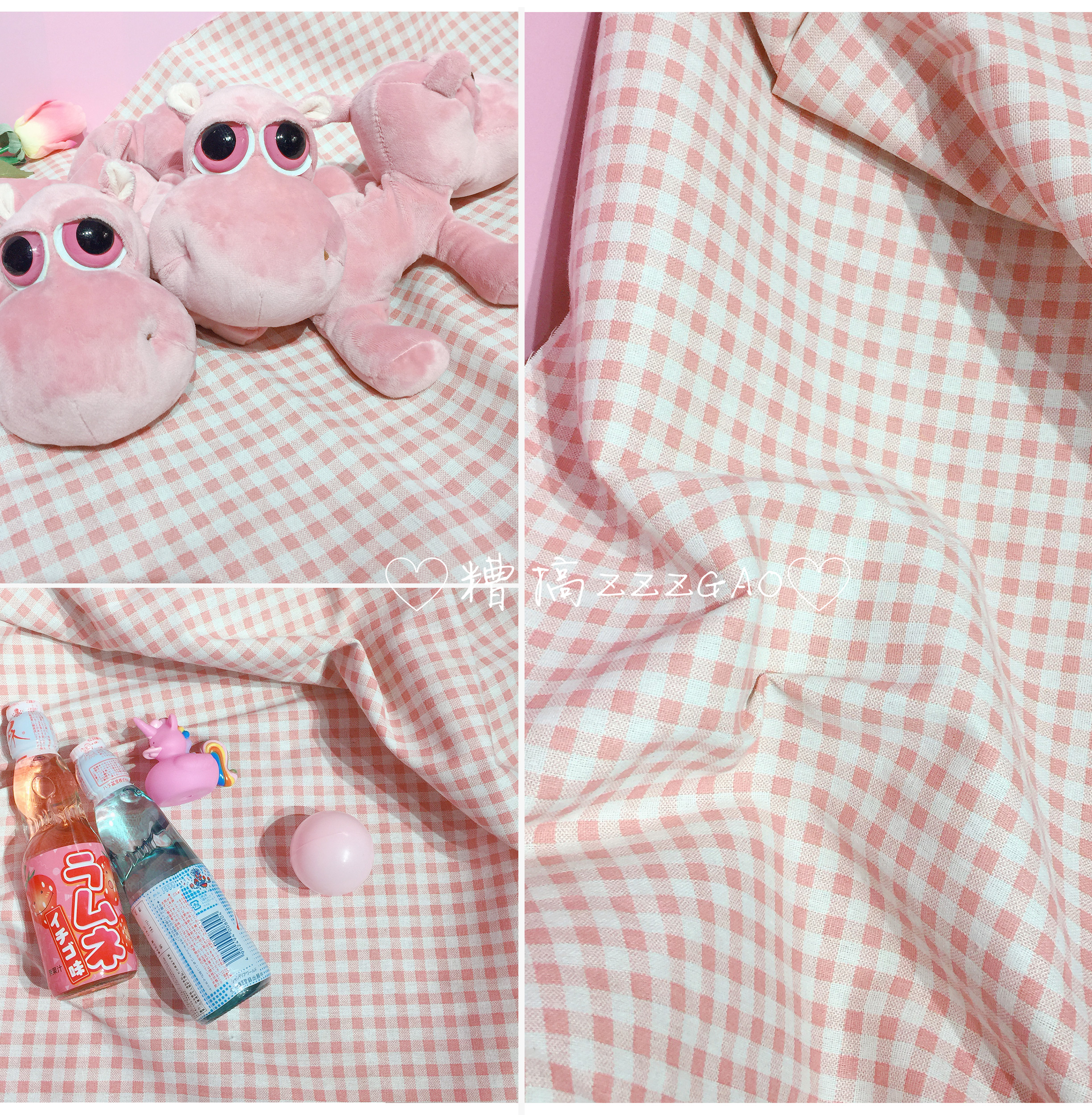 Korean Chic Girl Heart Pink Plaid Cute Sweet Shooting Background Cloth Tablecloths Room Decoration
