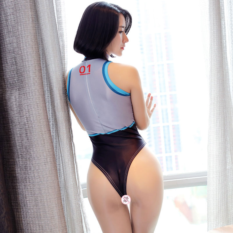 47838797542 COS high fork open jumpsuit anime dead library water police uniform uniform sexy  underwear stretch tight bikini