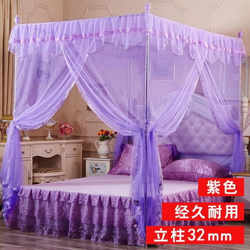 蚊帐1.5三开门方顶坐床式无底方帐 1.8米不锈钢公主宫廷加密