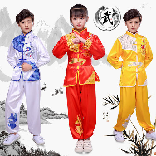 Boys Martial arts Kungfu & Tai-Chi Uniforms for Girls Children martial arts performance training clothes Chinese Kung Fu Long Short Sleeve kindergarten Chinese style boys and girls performance clothing