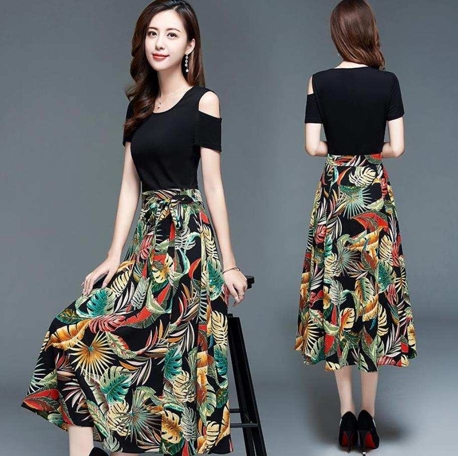 大码洋气连衣裙2020新款夏减龄露肩高腰显瘦韩版印花膝长裙