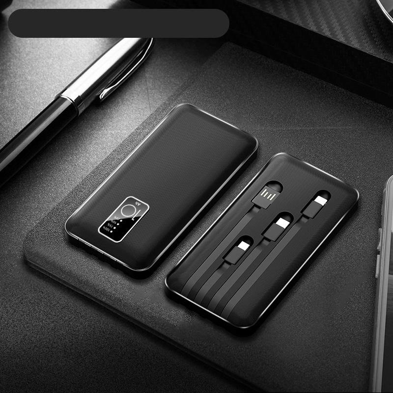 充电宝20000毫安自带线三合一超薄大容量小巧便携快充移动电源适用苹果华为小米手机专用石墨1000000超大量烯