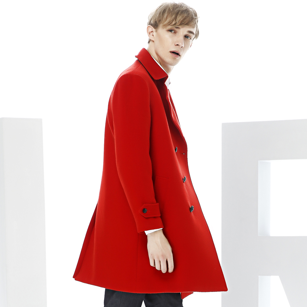 c7b2d3f1fd460 You Jie Shi wool coat male double breasted red men s coat in the long  section of
